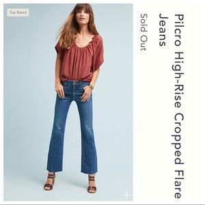 Anthro Pilcro High Rise Cropped Flare Denim Jeans